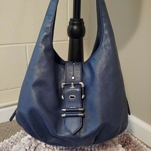 B Makowsky Navy leather hobo